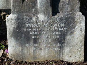 Inscription on Gravestone of James McEwen - Western Cemetery
