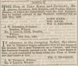 Dissolution of John Kerr & Co - Dundee Courier 20 July 1866. Image ©THE BRITISH LIBRARY BOARD. ALL RIGHTS RESERVED