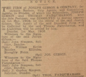Notice of dissolution of Joseph Gibson & Co. 1908
