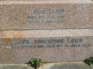 A C Lamb's children. Western Cemetery, Dundee