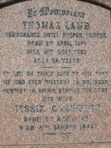 Thomas Lamb and Jessie Crawford, Western Cemetery, Dundee
