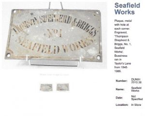 Metal plaque which would have hung on a wall at Seafield Works