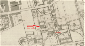 Despite having been built in the country, the town and industrial works had crept out to meet the landscaped surroundings of the Collier and Small homes. (Image: National Library of Scotland, OS large scale Scottish town plans, 1847-1895, Dundee 1871 - LIV.6.12 )