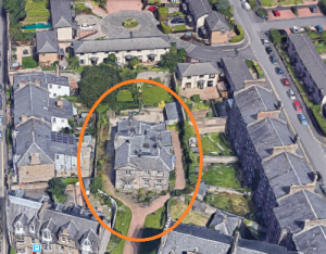 An aerial view of Seafield House, or Lodge, as it is today. The buildings which now surround it would not have been built when James Horsburgh lived there. (Image:Google Earth)