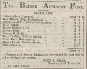 Kidd was one of the first subscribers to a fund after the Tay railbridge accident. (Dundee Courier, Saturday 11 October 1873, Page 1, https://www.britishnewspaperarchive.co.uk/viewer/bl/0000162/18731011/026/0001)