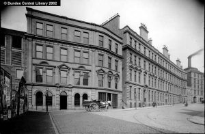 6 Victoria Road, Dundee. This photograph by Alexander Wilson shows the 'beginning' of Victoria Road, where it runs east north east from Meadowside in Dundee's city centre roughly in the direction of Forfar. Just to the right of this image is the south end of Hilltown. H. Henderson and Sons were 'tanners and curriers, leather, tallow, oil, hide and bark merchants, boot, shoe and mill belt manufacturers' at No. 6 Victoria Road.