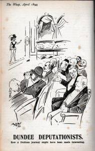 Cartoon from the Wasp, April 1899, featuring Sir Thomas as part of a deputation in London attending a show to demonstrate