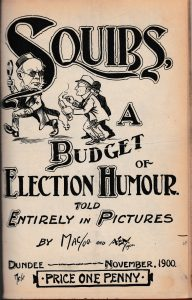 Cartoon from the Wasp featuring Sir Thomas in his smoking cap, November 1900