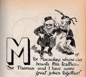 Cartoon from the Wasp showing Sir Thomas and Macaulay sharing a joke, Christmas 1900.
