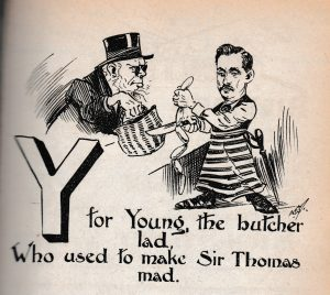 Cartoon from the Wasp featuring Sir Thomas and a local butcher, Christmas 1900.