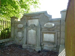 Tablet stones of Reverend John Buist and his family within Tannadice kirkyard