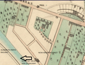 Map showing Crescent House in 1845, surrounded by grounds and with direct access to the waterfront. (Image- Edward, Charles, ca. 1816-1890 , Plan of the town of Dundee, with the improvements now in progress.   [Edinburgh : W. & A. K. Johnston, 1846]., MS.5847, no.80, National Library of Scotland, https://maps.nls.uk/view/74400068#zoom=5&lat=3240&lon=2681&layers=BT)