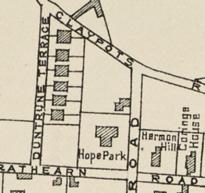 Map showing Hope Park, Broughty Ferry, home of the Guthrie family. (Image:Plan of Broughty Ferry 1897   [Dundee : James P. Mathew & Co., 1897])