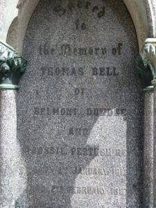 Inscription for Thomas Bell - Western Cemetery 2018