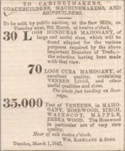 Wood Sale - Dundee, Perth & Cupar Advertiser, 2 March 1847. Image©THE BRITISH LIBRARY BOARD. ALL RIGHTS RESERVED. Image accessed via ©2019Findmypast