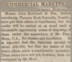 Messrs John Kirkland & Son liquidation - Dundee Advertiser, 2 February 1883. Image©THE BRITISH LIBRARY BOARD. ALL RIGHTS RESERVED. Image accessed via ©2019Findmypast
