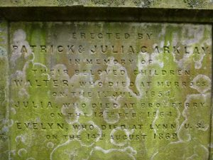 Inscription commemorating  Patrick Arklay's children - Murroes kirkyard