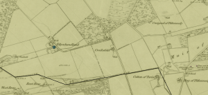 Map showing the farm of Tillywhandland.(Image-Canmore, TILLYWHANDLAND, Classification  Farmhouse (Period Unassigned).Canmore Id  221935)