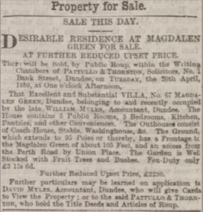 Sale of 67 Magdalen Green - Dundee Courier, 20-4-1880 - Image©THE BRITISH LIBRARY BOARD. ALL RIGHTS RESERVED. Image accessed via ©2019Findmypast website