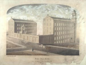 Drawing of the Lower Dens Mills, St Roques Lane, Dundee. © University of Dundee Archive Services  Not to be reproduced without permission