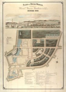 Plan and drawing of Dens Works. © University of Dundee Archive Services  Not to be reproduced without permission