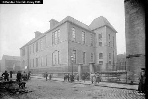 Photograph of Mitchell Street School located in the street which commemorates John Mitchell and which formed the western border of his works.