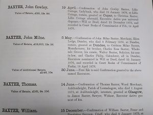 Extract from Calendar of Confirmations and Inventories, 1876, showing the value of John Milne Baxter's estate.