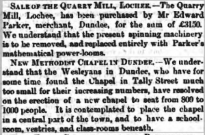 Purchase of Quarry Mill - Dundee Peope's Journal, 10 January 1863 - Image©THE BRITISH LIBRARY BOARD. ALL RIGHTS RESERVED