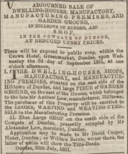 Dundee, Perth & Cupar Advertiser. 29 August 1851 - Image © THE BRITISH LIBRARY BOARD. ALL RIGHTS RESERVED. Image accessed via © 2019 Findmypast website.