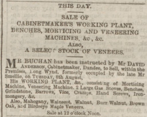 The fine quality of the materials used by David Anderson can clearly be seen from this advert. (Dundee Courier, Tuesday 08 August 1876, Page 1)