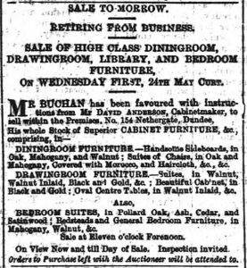 The high fashion and fine quality of the furniture can clearly be seen from this advert. (Dundee Courier - Tuesday 23 May 1876 Page 1 British Library via the BNA)