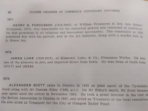Extract from Chamber of Commerce Centenary Souvenir 1936. Courtesy Leisure & Culture Dundee.