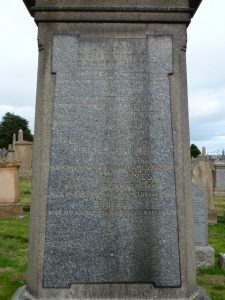 Memorial Stone Inscription for James Paxton - Western Cemetery, Perth Road, Dundee