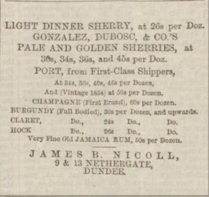 Advertisement - J B Nicoll 1862