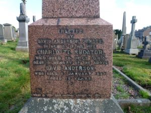 Inscription on David Anderson's Memorial Stone