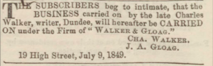 Inception of Walker & Gloag - Dundee, Perth & Cupar Advertiser, 13 July 1849. Image©THE BRITISH LIBRARY BOARD. ALL RIGHTS RESERVED.
