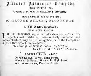 Walker & Gloag, agents for Insurance Co. - Image from Dundee Directory, 1850. p.243.
