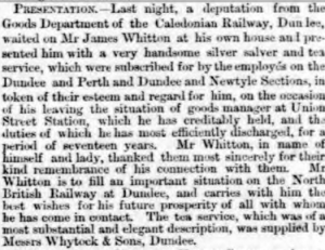Presentation to James Whitton - Dundee Advertiser, 14 October 1865 - Image©THE BRITISH LIBRARY BOARD. ALL RIGHTS RESERVED