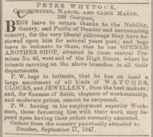 Whytock's New Premises at 46 High Street, Dundee - Dundee, Perth & Cupar Advertiser. 17 September 1847. p.3. - ©THE BRITISH LIBRARY BOARDS. ALL RIGHTS RESERVED