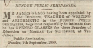 Advert placed by James Glass - Dundee, Perth & Cupar Advertiser. Image© THE BRITISH LIBRARY BOARD. ALL RIGHTS RESERVED