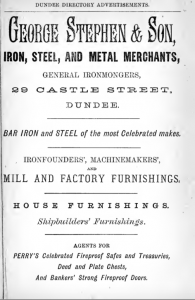 Advertisement for George Stephen & Co - Dundee Directory for 1876-77