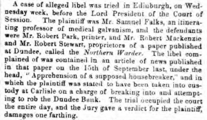 Northern Warder - Alleged Libel - Sheffield Independent, 5 August 1854. Image©THE BRITISH NEWSPAPER ARCHIVE. ALL RIGHTS RESERVED.