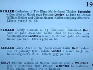 Catherine Keiller's probate, 1922.
