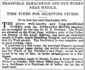 Sub-Let of Deanfield Bleachfield and Dyeworks. Image©THE BRITISH NEWSPAPER ARCHIVE. ALL RIGHTS RESERVED.