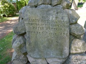 Gravestone inscription for Peter Rattray's daughter - Balgay