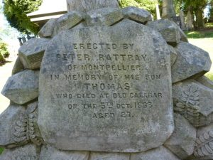 Gravestone inscription for Peter Rattray's son - Balgay