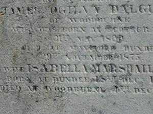 Partial Gravestone Inscription for James Ogilvy Dalgleish