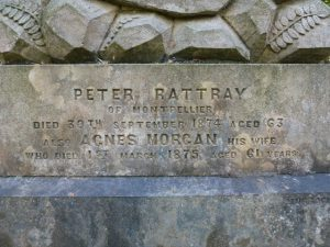 Gravestone inscription for Peter Rattray and his wife - Balgay