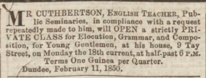 Advertisement placed by John Cuthbertson - Dundee Courier. 12 February 1850. Image©THE BRITISH LIBRARY BOARD. ALL RIGHTS RESERVED