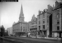 High Street, Dundee showing St. Paul's spire. Photopolis wc0210 courtesy of Leisure & Culture Dundee.
